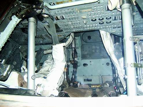 Space travel critical situations - Outer space ship Apollo-13 inner view photo