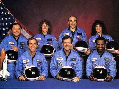 Space travel critical situations - space shuttle Challenger crew photo