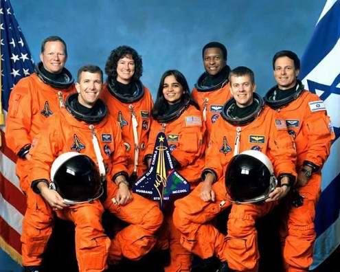 Space travel critical situations - space shuttle Columbia crew photo